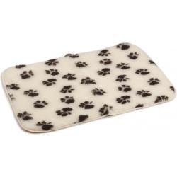 Vetbed antislip voor hond beige met voetprint 75 x 50 cm