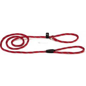 Hondenriem van rond nylon sliplijn 170cm x 8mm rood