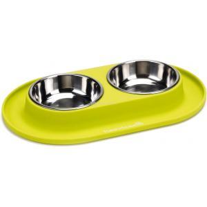 Dinner hondenvoerbak siliconen met rvs bakken groen