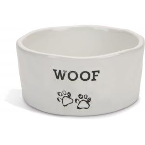 Hondenvoerbak keramieke Woof wit 15 cm