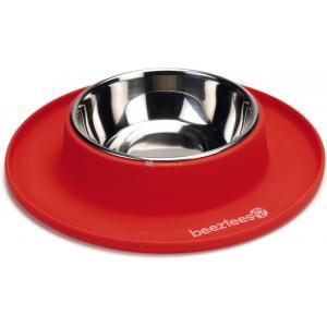 hondenvoerbak siliconen met rvs bakken rood 24 cm
