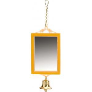 Spiegel met bel voor vogels vierkant